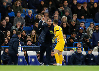 30th November 2019; Stamford Bridge, London, England; English Premier League Football, Chelsea versus West Ham United; Chelsea Manager Frank Lampard giving instructions to Goalkeeper Kepa Arrizabalaga of Chelsea from the touchline   - Strictly Editorial Use Only. No use with unauthorized audio, video, data, fixture lists, club/league logos or 'live' services. Online in-match use limited to 120 images, no video emulation. No use in betting, games or single club/league/player publications