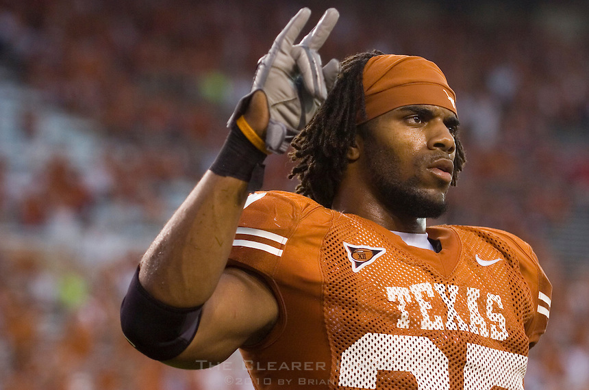23 September 2006: Texas defender Michael Griffin sings The Eyes of Texas following the Longhorns 37-14 victory over the Iowa State Cyclones at Darrell K Royal Memorial Stadium in Austin, TX.