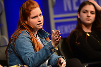 Washington, DC - March 23, 2018: Emma Dowd and student journalists from Marjory Stoneman Douglas High School in Parkland, Florida participate in a panel discussion, moderated by CBS correspondent Margaret Brennan, at the Newseum in Washington, D.C. March 23, 2018. The students recounted their experiences in covering the shooting tragedy at their school for The Eagle Eye newspaper.  (Photo by Don Baxter/Media Images International)