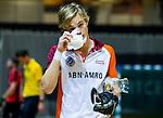 ALMERE - hoofdklasse competitie zaalhockey . Schaerweijde - Almere. gehavende Almeersche speler Daan Dekker.  COPYRIGHT KOEN SUYK