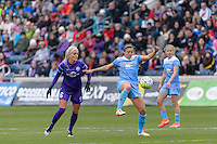 Bridgeview, IL, USA - Sunday, May 1, 2016: Orlando Pride midfielder Kaylyn Kyle (6) and Chicago Red Stars midfielder Sofia Huerta (11) during a regular season National Women's Soccer League match between the Chicago Red Stars and the Orlando Pride at Toyota Park. Chicago won 1-0.