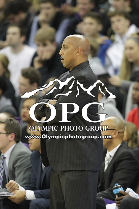 DEC 22, 2015:  Washington head coach Lorenzo Romar against Seattle University. Washington defeated Seattle University 79-68 at Alaska Airlines Arena in Seattle, WA.