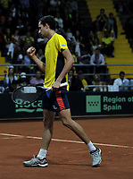 BOGOTA-COLOMBIA, 07-03-2020: Daniel Galan de Colombia celebra el punto ganado a Juan Ignacio Londero de Argentina, durante partidos de los enfrentamientos para Las clasificatorias Copa Davis by Rakuten 2020 entre Colombia y Argentina en el Palacio de los Deportes en la ciudad de Bogota. / Daniel Galan of Colombia celebrates the winer point to Juan Ignacio Londero of Argentina,  during matches of the clashes for the Davis Cup by Rakuten 2020 qualifiers between Colombia and Argentina at the Palacio de los Deportes in Bogota city. / Photo: VizzorImage / Luis Ramirez / Staff.