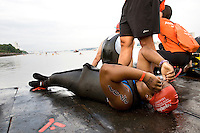 Minda prepares herself at the starting line of the Aquaphor New York City Triathlon in New York on July 8, 2012.