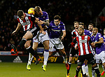 Jack O'Connell of Sheffield Utd and David Wheater of Bolton Wanderers battle for the ball during the Championship match at Bramall Lane Stadium, Sheffield. Picture date 30th December 2017. Picture credit should read: Simon Bellis/Sportimage