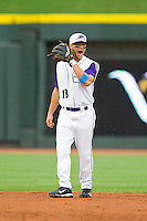 Winston-Salem Dash shortstop Joey DeMichele (18) signals the pitch to his second baseman during the Carolina League game against the Frederick Keys at BB&T Ballpark on July 21, 2013 in Winston-Salem, North Carolina.  The Dash defeated the Keys 3-2.  (Brian Westerholt/Four Seam Images)