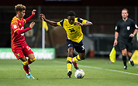 Kevin Berkoe of Oxford United & Josh Martin of Norwich City U21 during the The Leasing.com Trophy match between Oxford United and Norwich City U21 at the Kassam Stadium, Oxford, England on 3 September 2019. Photo by Andy Rowland.