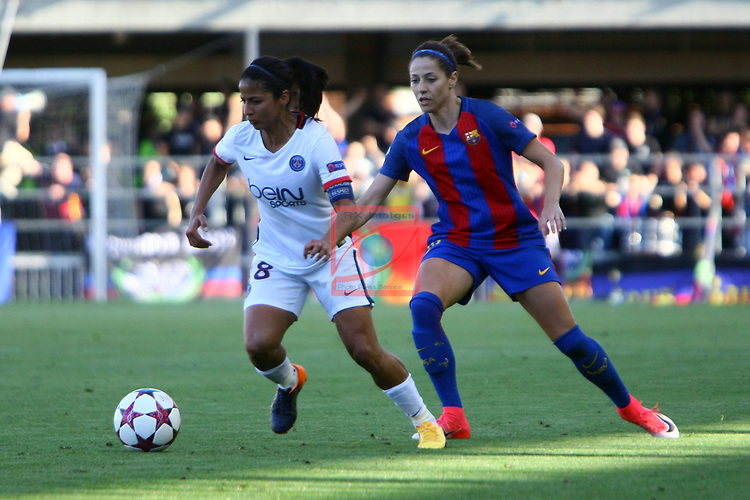 UEFA Women's Champions League 2016/2017.<br /> Semifinals.<br /> FC Barcelona vs Paris Saint Germain: 1-3.<br /> Shirley Cruz vs Vicky Losada.
