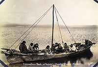 BNPS.co.uk (01202 558833)<br /> Pic: Elstob&Elstob/BNPS<br /> <br /> Eskimo skin boat (Omiak) Grantley Harbour, Alaska.<br /> <br /> Fascinating photos documenting the famous Alaska 'gold rush' have come to light 120 years later.<br /> <br /> Thousands of people chasing riches ventured into the North American wilderness after gold was discovered in Nome in 1899.<br /> <br /> Over the next decade a staggering 112 tonnes of gold was sourced.<br /> <br /> Unsurprisingly, everyone wanted a piece of the action, leading to a huge influx of people to the area.<br /> <br /> Its transformation into a thriving metropolis was documented by acclaimed American photographer Frank Nowell.