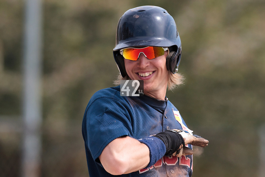 25 April 2010: Luc Piquet of Rouen smiles during game 1/week 3 of the French Elite season won 12-4 by Rouen over the PUC, at the Pershing Stadium in Vincennes, near Paris, France.