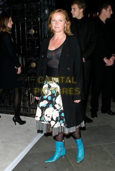 MIRANDA RICHARDSON.The VIP private viewing of portraits by artist David Hockney at the National Portrait Gallery, London, UK..October 11th, 2006 .Ref: AH.full length black sheer see through thru bra caot skirt blue turquoise boots fashion disaster.www.capitalpictures.com.sales@capitalpictures.com.©Adam Houghton/Capital Pictures.