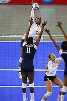 15 December 2007: Stanford Cardinal Foluke Akinradewo during Stanford's 25-30, 26-30, 30-23, 30-19, 8-15 loss against the Penn State Nittany Lions in the 2007 NCAA Division I Women's Volleyball Final Four championship match at ARCO Arena in Sacramento, CA.
