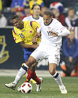 Jermaine Jones #15 of the USA MNT clashes with John Viafara #15 of Colombia during an international friendly match at PPL Park, on October 12 2010 in Chester, PA. The game ended in a 0-0 tie.