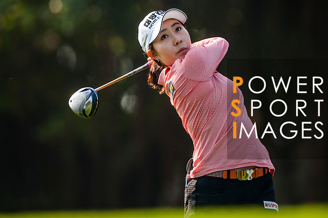 Soo-Hwa Jang of Korea in action during the Hyundai China Ladies Open 2014 Pro-am on December 09 2014 at Mission Hills Shenzhen, in Shenzhen, China. Photo by Aitor Alcalde / Power Sport Images
