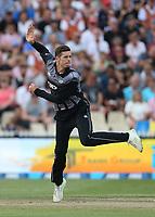 New Zealand's Mitchell Santner bowling. New Zealand Blackcaps v England. Tri-Series International Twenty20 cricket. Seddon Park, Hamilton, New Zealand on Sunday 18 February 2018.<br /> <br /> Copyright photo: &copy; Bruce Lim / www.photosport.nz