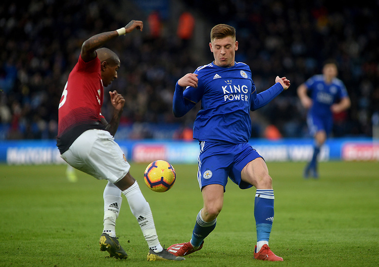 Leicester City's Harvey Barnes battles with Manchester United's Ashley Young<br /> <br /> Photographer Hannah Fountain/CameraSport<br /> <br /> The Premier League - Leicester City v Manchester United - Sunday 3rd February 2019 - King Power Stadium - Leicester<br /> <br /> World Copyright © 2019 CameraSport. All rights reserved. 43 Linden Ave. Countesthorpe. Leicester. England. LE8 5PG - Tel: +44 (0) 116 277 4147 - admin@camerasport.com - www.camerasport.com