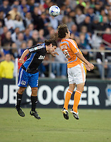 22 May 2008:  Nick Garcia of the Earthquakes battles for the ball in the air with Franco Caraccio of the Dynamo during the game at Buck Shaw Stadium in San Jose, California.   San Jose Earthquakes defeated Houston Dynamo, 2-1.