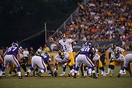 Canton, Ohio - August 9, 2015: Landry Jones #3 of the Pittsburgh Steelers directs the offensive line during a preseason game against the Minnesota Vikings at the Hall of Fame Stadium in Canton, Ohio, August 9, 2015.  (Photo by Don Baxter/Media Images International)