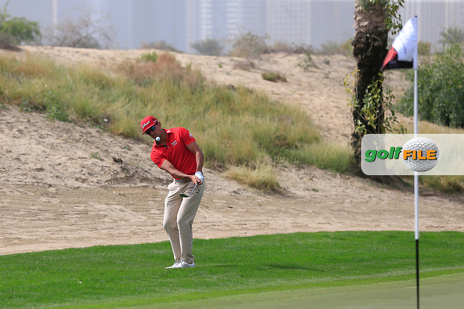 Rafa Cabrera-Bello (ESP) on the 3rd during Round 1 of the Omega Dubai Desert Classic, Emirates Golf Club, Dubai,  United Arab Emirates. 24/01/2019<br /> Picture: Golffile | Thos Caffrey<br /> <br /> <br /> All photo usage must carry mandatory copyright credit (&copy; Golffile | Thos Caffrey)