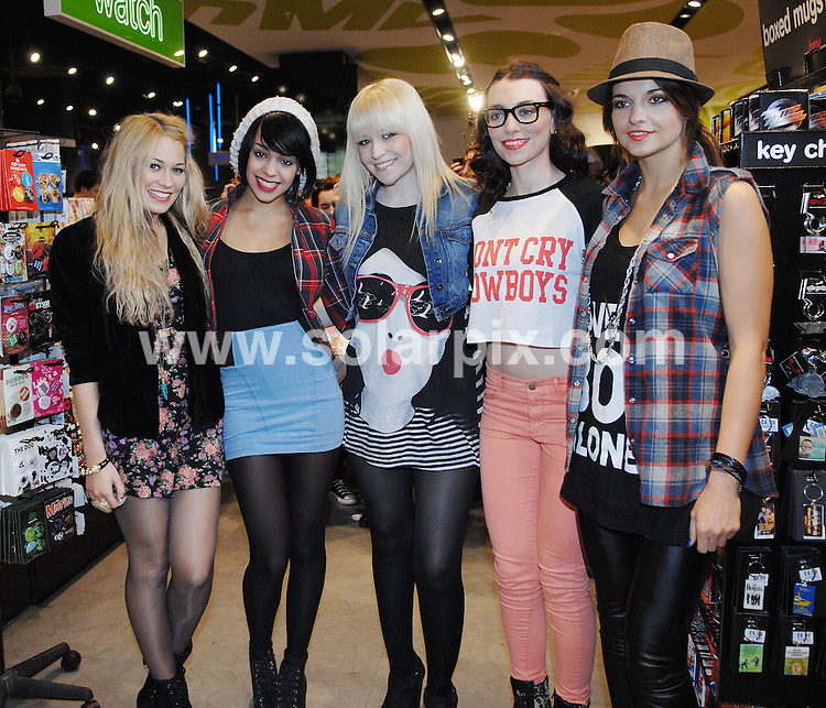 **ALL ROUND PICTURES FROM SOLARPIX.COM**                                             **WORLDWIDE SYNDICATION RIGHTS**                                                                                  Caption: Girl band- Parade - sign copies of their new CD - Louder - at the HMV store, Liverpool, UK. 17 March 2011                                                                              This pic: Parade aka Emily Biggs, Bianca Claxton, Jessica Agombar,  Sian Charlesworth and Lauren Deegan                                                                                            JOB REF: 12987 SGD       DATE: 17_03_2011.                                                           **MUST CREDIT SOLARPIX.COM OR DOUBLE FEE WILL BE CHARGED**                                                                      **MUST AGREE FEE BEFORE ONLINE USAGE**                               **CALL US ON: +34 952 811 768 or LOW RATE FROM UK 0844 617 7637**