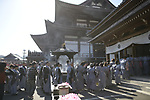 TOKYO, JAPAN - FEBRUARY 3: Participants dressed in a traditional robe enters the Zojoji Temple in Tokyo on Feb. 3, 2019 during the annual mamemaki or the bean-throwing ceremony. The ritual ceremony is observed at temples and shrines throughout the country, is believed by Japanese to drive out the demons of misfortune and it is considered as the beginning of spring. (Photo: Richard Atrero de Guzman/Aflo)