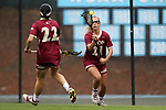 CHAPEL HILL, NC - MAY 12: Elon's Nicole Sinacori (21) and Sloane Kessler (22). The Elon University Phoenix played the University of Virginia Cavaliers on May 12, 2017, at Fetzer Field in Chapel Hill, NC in an NCAA Women's Lacrosse Tournament First Round match. Virginia won the game 11-9.