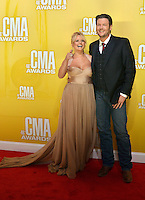 NASHVILLE, TN - NOVEMBER 1: Miranda Lambert and Blake Shelton on the Macy's Red Carpet at the 46th Annual CMA Awards at the Bridgestone Arena in Nashville, TN on Nov. 1, 2012. © mpi99/MediaPunch Inc. /NortePhoto .<br />