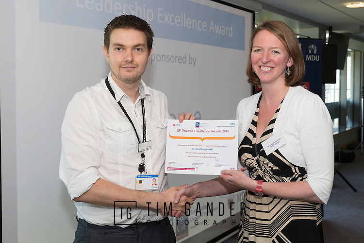 20/07/2016 Royal College of General Practicioners Severn Faculty hosts the GP Trainee Awards presentations at Bristol Pavilion cricket ground, Bristol.<br /> <br /> Dr Rob Allen presents the Frome Medical Centre award for Leadership Excellence to Dr Julia Hempenstall.<br /> <br /> &copy; Tim Gander 2016. All rights reserved.