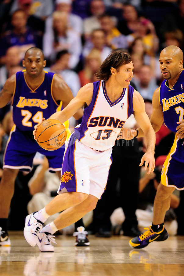 Mar. 12, 2010; Phoenix, AZ, USA; Phoenix Suns guard (13) Steve Nash against the Los Angeles Lakers at the US Airways Center. The Lakers defeated the Suns 102-96. Mandatory Credit: Mark J. Rebilas-