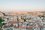 Portugal, Lisbon, Rooftops of Lisbon at Sunrise Viewed from Graca