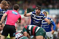Charlie Ewels of Bath Rugby appeals to the referee. Gallagher Premiership match, between Leicester Tigers and Bath Rugby on May 18, 2019 at Welford Road in Leicester, England. Photo by: Patrick Khachfe / Onside Images