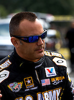 Aug. 4, 2013; Kent, WA, USA: NHRA top fuel dragster driver Tony Schumacher during the Northwest Nationals at Pacific Raceways. Mandatory Credit: Mark J. Rebilas-USA TODAY Sports