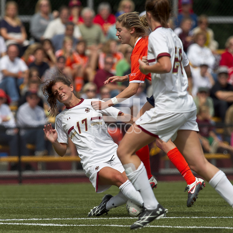 Boston College forward Alaina Beyar (17) tackle. Boston College defeated University of Virginia, 2-0, at the Newton Soccer Field, on September 18, 2011.