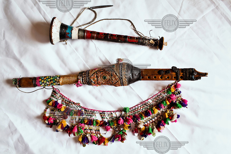 Woodwind musical instruments played throughout Asia: The Surnai (bottom) and the Murli (top).