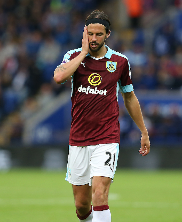 Burnley's George Boyd shows his frustration at the 3-0 defeat<br /> <br /> Photographer Stephen White/CameraSport<br /> <br /> The Premier League - Leicester City v Burnley - Saturday 17th September 2016 - King Power Stadium - Leicester <br /> <br /> World Copyright &copy; 2016 CameraSport. All rights reserved. 43 Linden Ave. Countesthorpe. Leicester. England. LE8 5PG - Tel: +44 (0) 116 277 4147 - admin@camerasport.com - www.camerasport.com