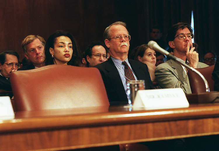 10/30/97.IRAN-LYBIA SANCTION ACT--William Ramsay, Deputy .Assistant Secretary of State for Energy Resources and Economic Sanctions, returned to his seat in the audience, saying he could not answer questions, after reading a statement before the Senate Banking, Housing and Urban Affairs Committee during a hearing on implementing the Iran-Lybia Sactions Act and the Russian firm Gazprom's participation in an oil deal with Iran. A few minutes later, at the suggestion of Chairman Al D'Amato, R-N.Y.,  he returned to the witness table to answer general questions..CONGRESSIONAL QUARTERLY PHOTO BY SCOTT J. FERRELL