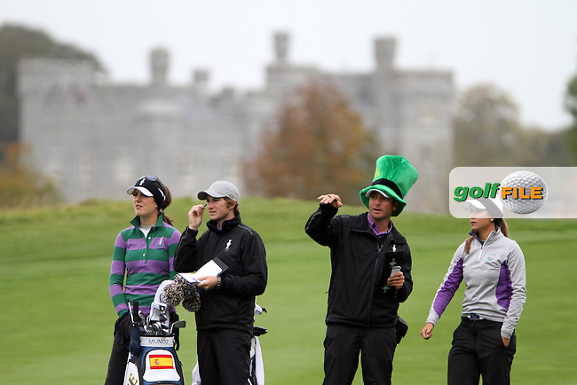 Sandra Gal (GER) and Azahara Munoz (SPA) on Thursday, the third practice day at the 2011 Solheim Cup at Killeen Castle, Co. Meath, Ireland...Photo Golffile/Jenny Matthews.(Photo credit should read Jenny Matthews www.golffile.ie)....This Picture has been sent you under the conditions enclosed by:.Newsfile Ltd..The Studio,.Millmount Abbey,.Drogheda,.Co Meath..Ireland..Tel: +353(0)41-9871240.Fax: +353(0)41-9871260.GSM: +353(0)86-2500958.email: pictures@newsfile.ie.www.newsfile.ie.