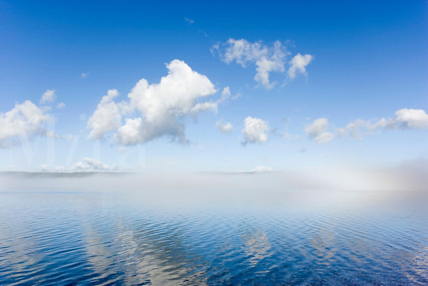 Early morning fog clearing off of Yellowstone Lake, with clouds and intense blue sky reflected in water surface, Yellowstone National Park, WY