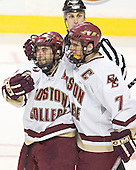 Stephen Gionta, Peter Harrold - The Boston College Eagles defeated the Northeastern University Huskies 5-2 in the opening game of the 2006 Beanpot at TD Banknorth Garden in Boston, MA, on February 6, 2006.