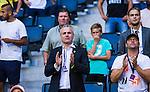 Solna 2014-07-24 Fotboll Europa League AIK - Linfield FC :  <br /> AIK:s ordf&ouml;rande Johan Segui appl&aring;derar <br /> (Foto: Kenta J&ouml;nsson) Nyckelord:  AIK Gnaget Friends Arena Linfield LFC Europa League Kval portr&auml;tt portrait