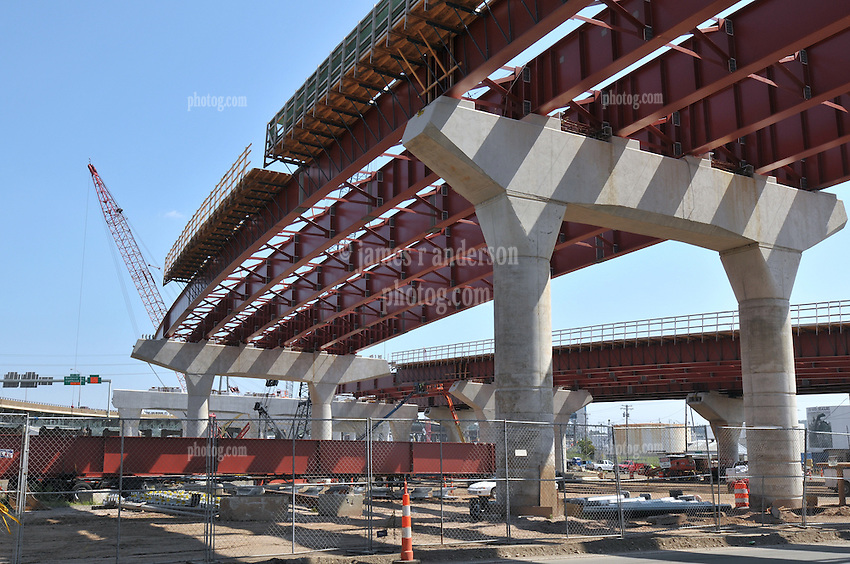 Pearl Harbor Memorial Bridge, New Haven Harbor Crossing Corridor. CT DOT Contract B1 Project No. 92-618 Progress Photography. Northbound West Approaches. Sixth on site photo capture of once every four month chronological documentation. Columns Caps and Girders, Ramp O.