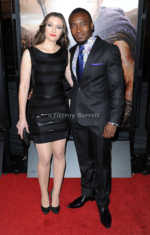 "Blessing Mokgohloa and date at the LA Premiere of ""Spartagus War Of The Damned"" held at Regal Cinemas L.A. LIVE January 22, 2013"