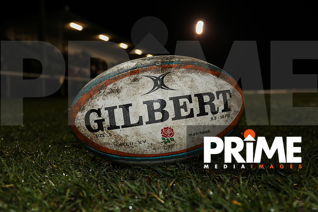 General view of a match ball during the Greene King IPA Championship match between London Scottish Football Club and Jersey Reds at Richmond Athletic Ground, Richmond, United Kingdom on 16 March 2018. Photo by David Horn.