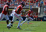 Shea Patterson looks for an opening to throw to a receiver during the game against UT Martin Sat., Sept. 9, 2017. Ole Miss wins 45-23. Photo by Marlee Crawford/Ole Miss Communications
