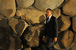 US Democratic presidential candidate Barack Obama in Yad Vashem, Jerusalem, Israel.