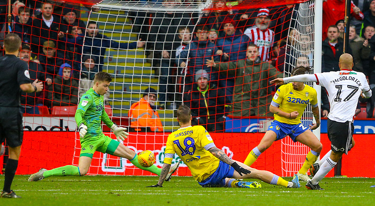 Leeds United's Bailey Peacock-Farrell makes an important save from Sheffield United's David McGoldrick<br /> <br /> Photographer Alex Dodd/CameraSport<br /> <br /> The EFL Sky Bet Championship - Sheffield United v Leeds United - Saturday 1st December 2018 - Bramall Lane - Sheffield<br /> <br /> World Copyright © 2018 CameraSport. All rights reserved. 43 Linden Ave. Countesthorpe. Leicester. England. LE8 5PG - Tel: +44 (0) 116 277 4147 - admin@camerasport.com - www.camerasport.com