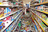 Pictured: Items from super market shelves have been thrown onto the floor in Plomari, Lesbos, Greece. Monday 12 June 2017<br /> Re: A strong earthquake has rocked the Greek island of Lesbos, injuring 10 people and damaging dozens of homes at the Brit tourist hotspot.<br /> The magnitude 6.2 quake struck off the coast of western Turkey close to the islands of Samos and Lesbos, which are hugely popular with holidaymakers.