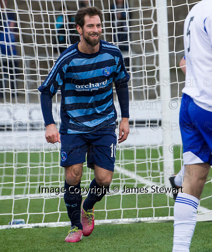 Forfar's Gavin Swankie celebrates after hescores their second goal.