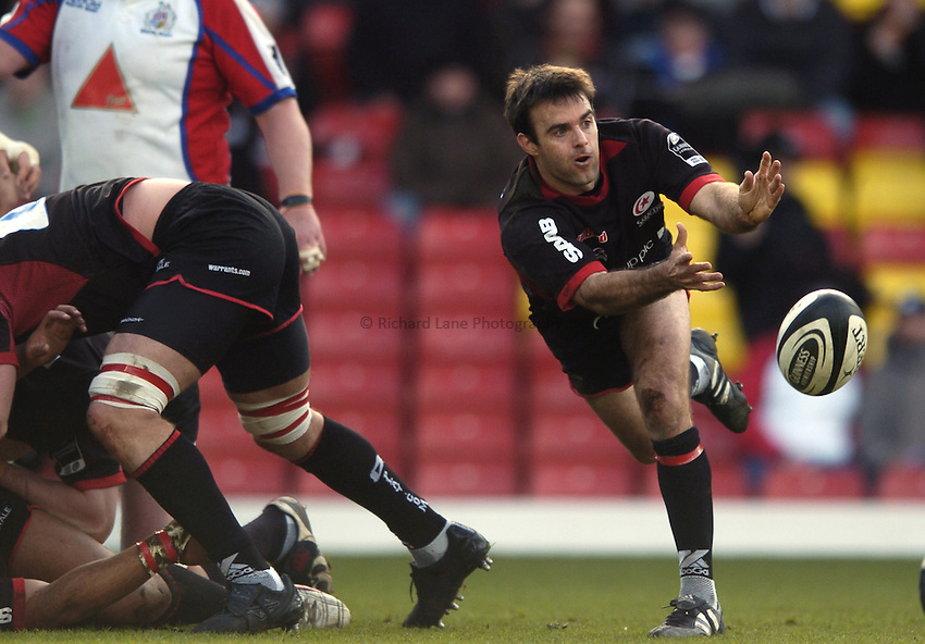 Photo: Jonathan Butler..Saracens v Bristol Rugby. Guinness Premiership. 18/03/2007..Neil De Kock of Saracens.