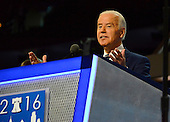 United States Vice President Joe Biden participates in a microphone check prior to the second day of the 2016 Democratic National Convention held at the Wells Fargo Center in Philadelphia, Pennsylvania on Tuesday, July 26, 2016.<br /> Credit: Ron Sachs / CNP<br /> (RESTRICTION: NO New York or New Jersey Newspapers or newspapers within a 75 mile radius of New York City)